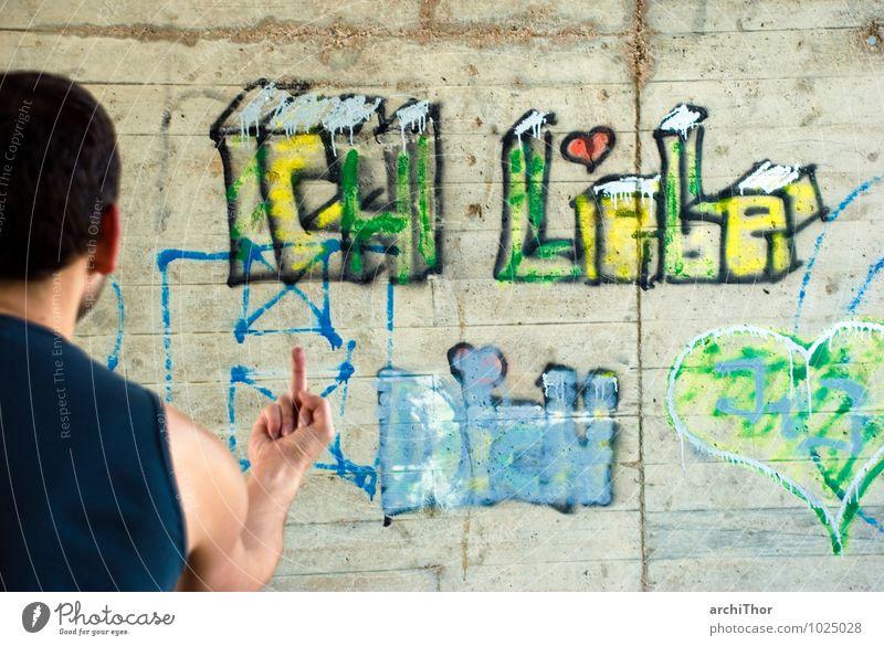 how deep is your love? Mensch Jugendliche blau grün 18-30 Jahre gelb Erwachsene Graffiti Gefühle grau Lifestyle maskulin Trauer Wut Schmerz Aggression