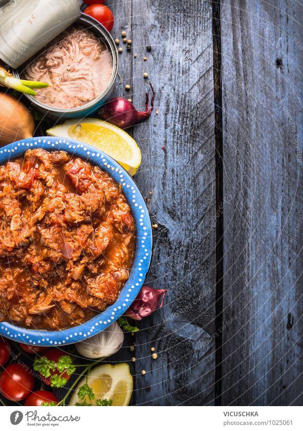 Thunfisch Tomaten Soße Zutaten Lebensmittel Fisch Gemüse Kräuter & Gewürze Öl Ernährung Mittagessen Festessen Bioprodukte Vegetarische Ernährung Diät