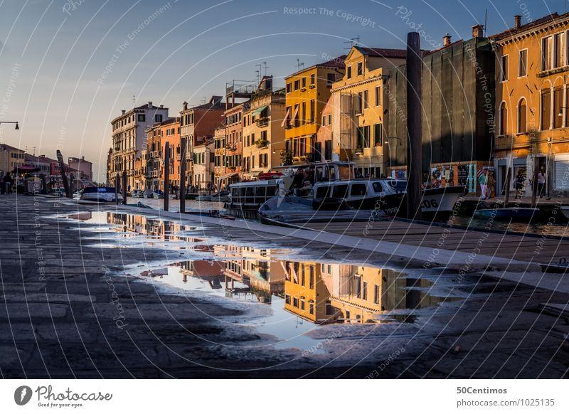 Spiegelungen in den Strassen von Venedig Ferien & Urlaub & Reisen Tourismus Ausflug Sightseeing Städtereise Häusliches Leben Himmel Sonnenaufgang