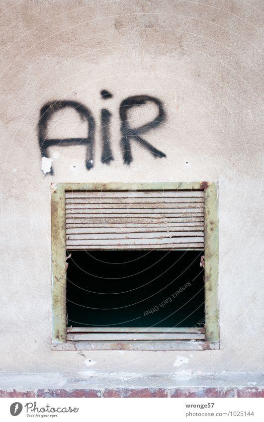 Air-öffnung Industrieanlage Mauer Wand Öffnung alt dunkel eckig kaputt Stadt grau schwarz Gebäudeteil Gitter Quadrat Metall Graffiti Schriftzeichen Rost