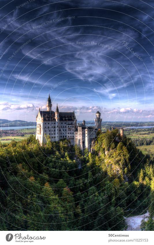 Schloss Neuschwanstein Natur Ferien & Urlaub & Reisen Sommer Landschaft ruhig Wolken Wald Berge u. Gebirge Frühling Glück Tourismus Ausflug Klima Schönes Wetter