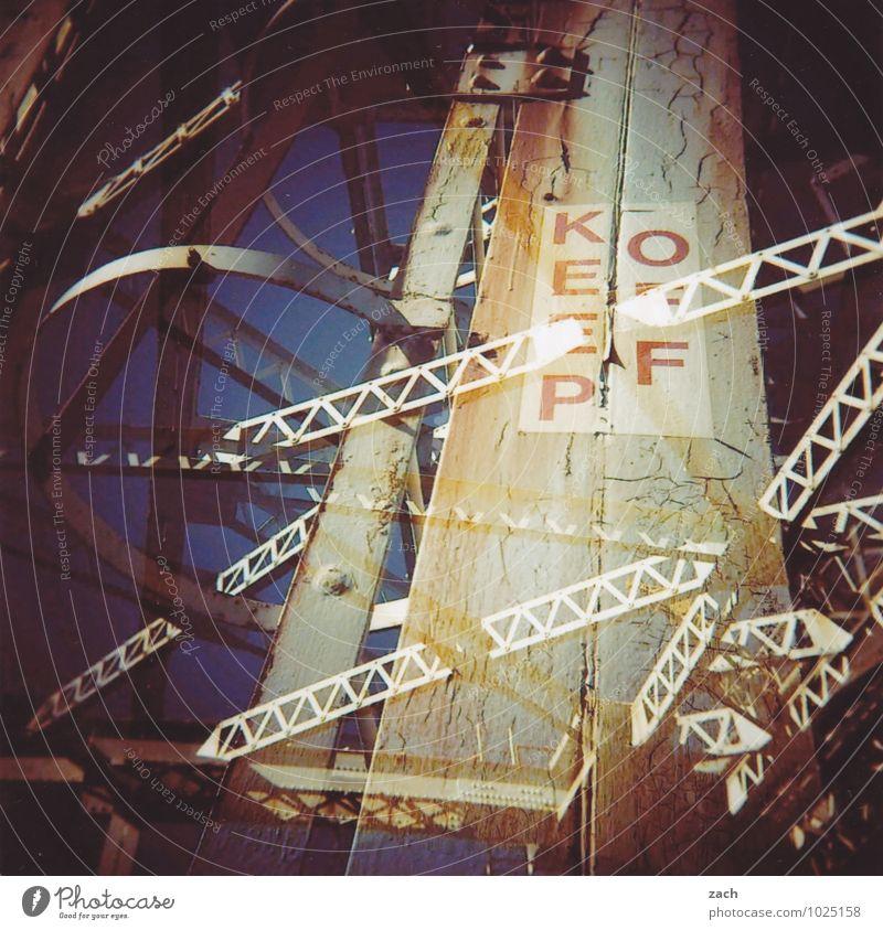 keep off Stadt Stadtzentrum Stadtrand Industrieanlage Fabrik Ruine Brücke Turm Bauwerk Gebäude Architektur Zeichen Schriftzeichen Schilder & Markierungen