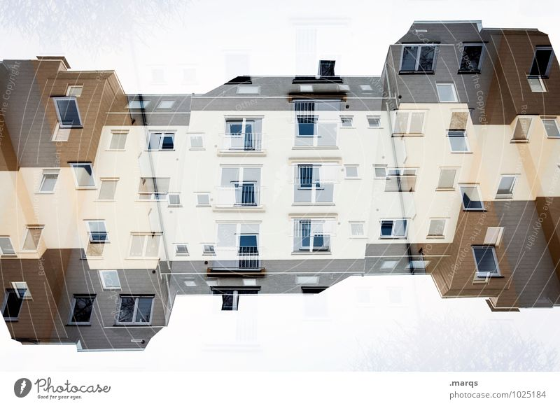 Doppelhaus Haus Fenster außergewöhnlich Fassade Häusliches Leben verrückt Perspektive Dach Surrealismus Symmetrie Immobilienmarkt