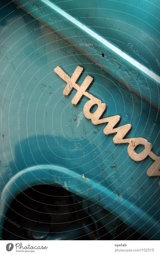 Hano... alt blau grün kalt Metall Design Schriftzeichen Industrie Buchstaben retro Landwirtschaft Typographie türkis Amerika Fahrzeug Maschine