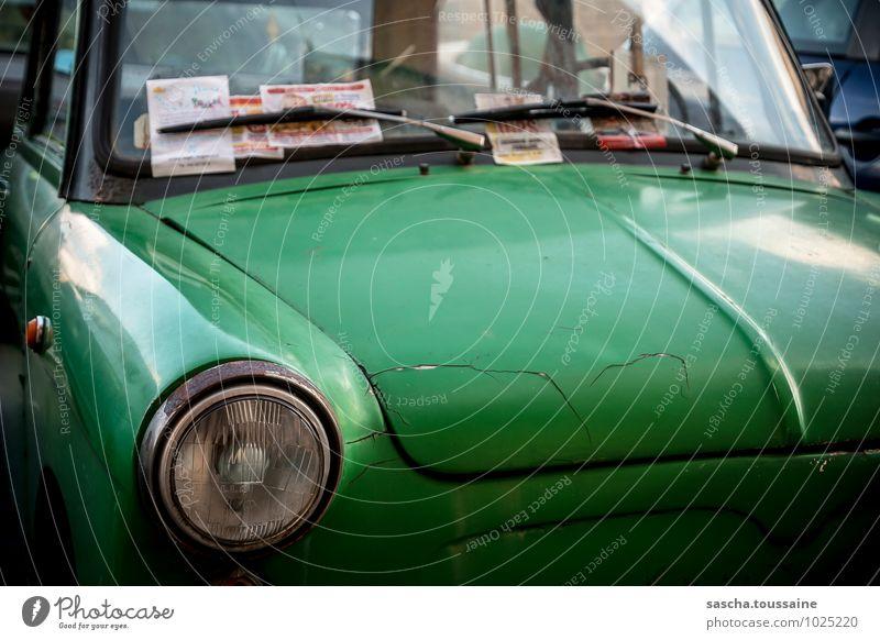 Frosch mit Falten grün Erholung Einsamkeit Senior klein PKW Kommunizieren Lebensfreude Vergänglichkeit kaputt historisch Verfall Rost Fahrzeug trashig