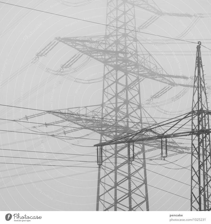 verwirrspiel energie Himmel Stadt Winter Umwelt Energiewirtschaft Luft Nebel Perspektive Technik & Technologie Elektrizität Urelemente Industrie planen Netzwerk