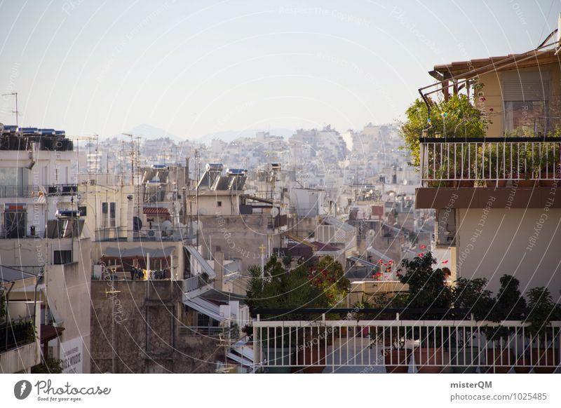 Über den Dächern von Athen III Stadt Hauptstadt Skyline bevölkert überbevölkert ästhetisch Dach Balkon Balkonpflanze Griechenland hässlich viele Unendlichkeit