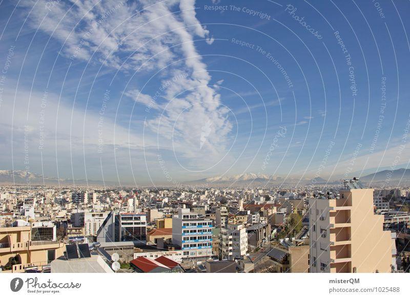 Über den Dächern von Athen II Stadt Hauptstadt Stadtzentrum bevölkert überbevölkert Haus ästhetisch Griechenland Betonbauweise viele Farbfoto Außenaufnahme