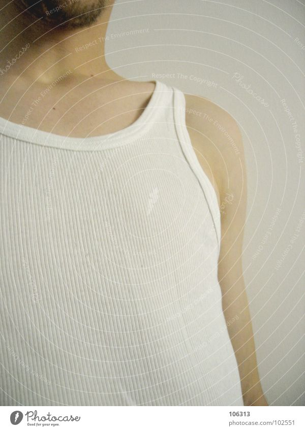 TOKYO PUSSYCAT Mann weiß Nase T-Shirt Bart trendy Typ Unterwäsche Träger Saum Unterhemd Macker Asozialer