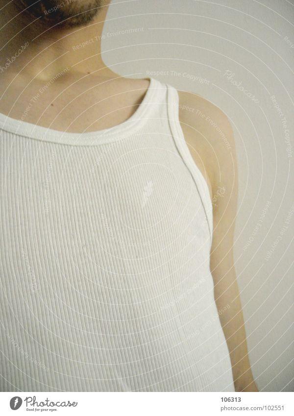 TOKYO PUSSYCAT Unterhemd Bart Mann Macker Träger Asozialer Unterwäsche weiß Saum << :) feinrip inge Typ guy dude wear trendy angesagt Nase feinrippunterhemd