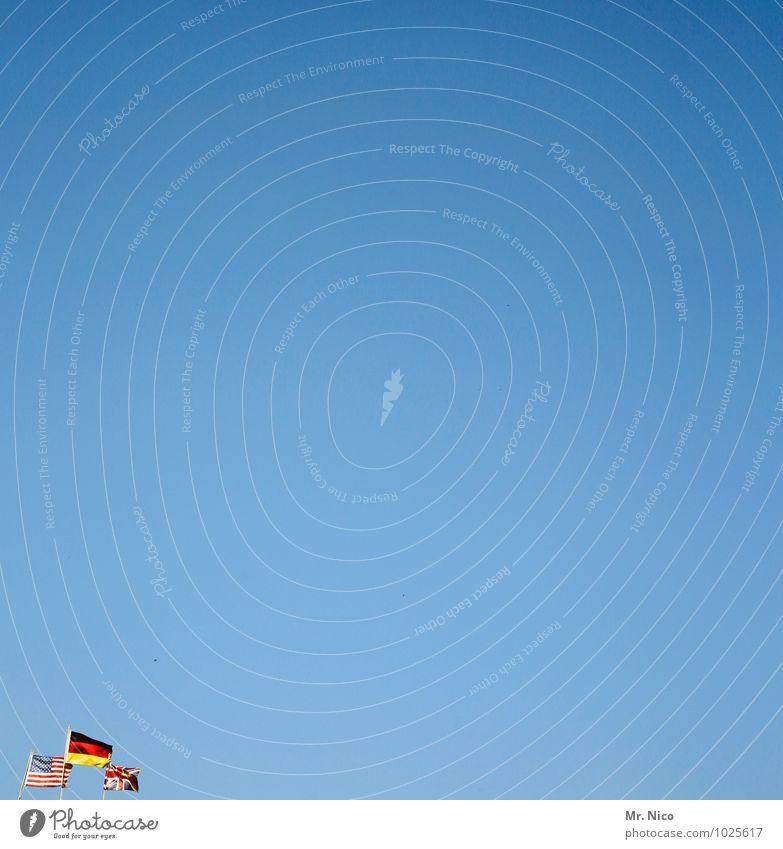 dreiländereck Himmel Ferien & Urlaub & Reisen blau Sommer Deutschland Tourismus Wind Schönes Wetter USA Fahne Wolkenloser Himmel Grenze