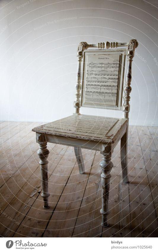 Antiker Notenstuhl Lifestyle Stil Design Möbel Stuhl Holzfußboden stehen alt ästhetisch außergewöhnlich trendy historisch positiv retro Kreativität Kunst