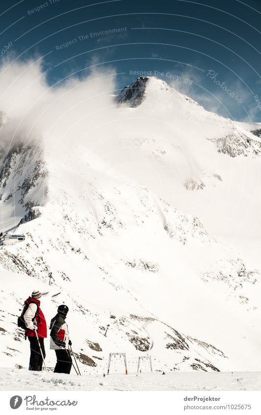 Panorama genießen Natur Ferien & Urlaub & Reisen Pflanze Landschaft Freude Ferne Winter Berge u. Gebirge Umwelt Gefühle Schnee Felsen Eis Freizeit & Hobby