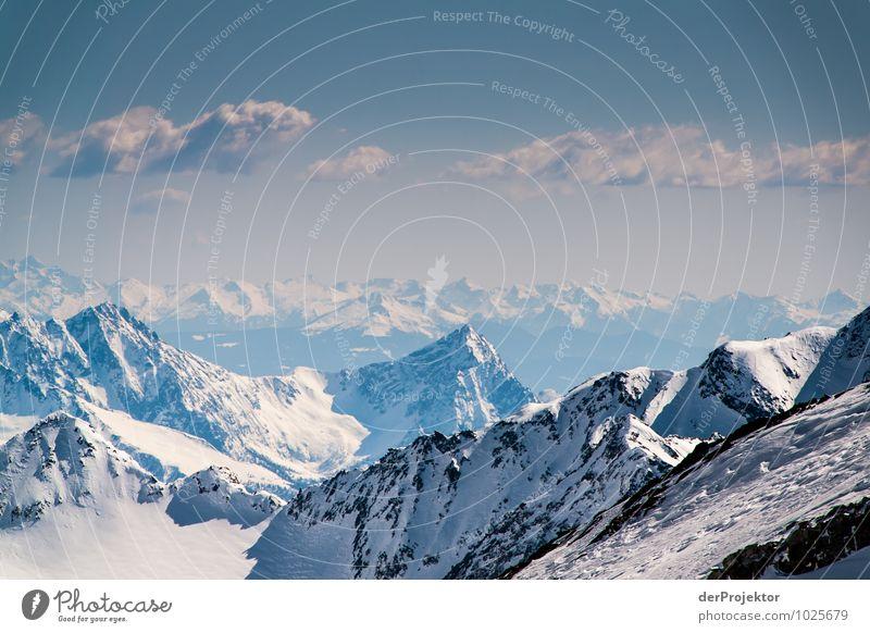 Berge, Berge, soweit das Auge reicht Natur Erholung Landschaft Ferne Winter Berge u. Gebirge Umwelt Gefühle Freiheit Felsen Abenteuer Urelemente Gipfel Neugier