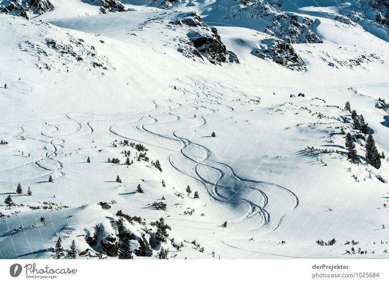 Spuren im Schnee Ferien & Urlaub & Reisen Tourismus Ausflug Ferne Sport Skifahren Umwelt Natur Landschaft Pflanze Urelemente Winter Schönes Wetter Hügel Felsen