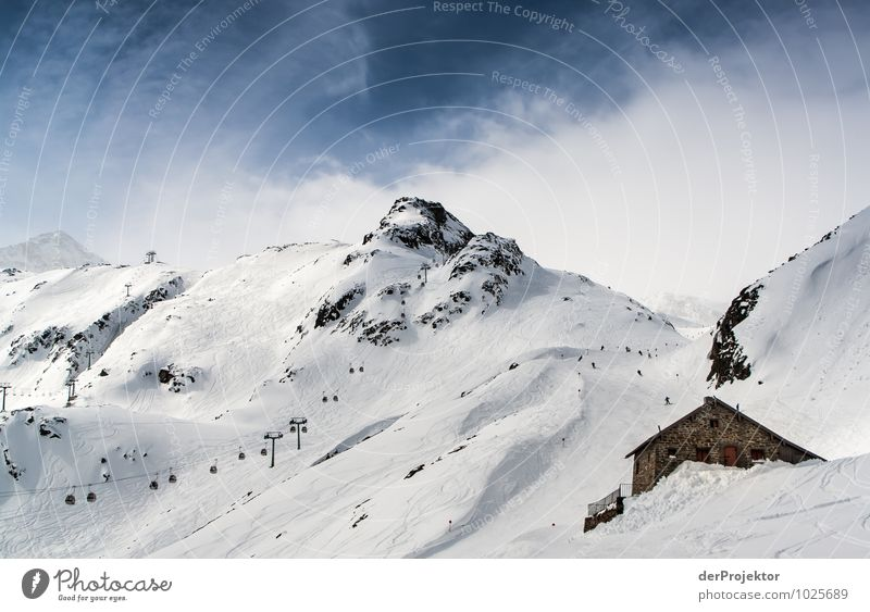 Hütte, Gondel, Berg Ferien & Urlaub & Reisen Tourismus Berge u. Gebirge Wintersport Skifahren Umwelt Natur Landschaft Schnee Hügel Felsen Alpen Gipfel