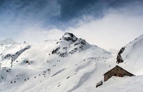 Hütte, Gondel, Berg Natur Ferien & Urlaub & Reisen Landschaft Winter Berge u. Gebirge Umwelt Schnee Felsen Tourismus groß Gipfel Hügel Alpen