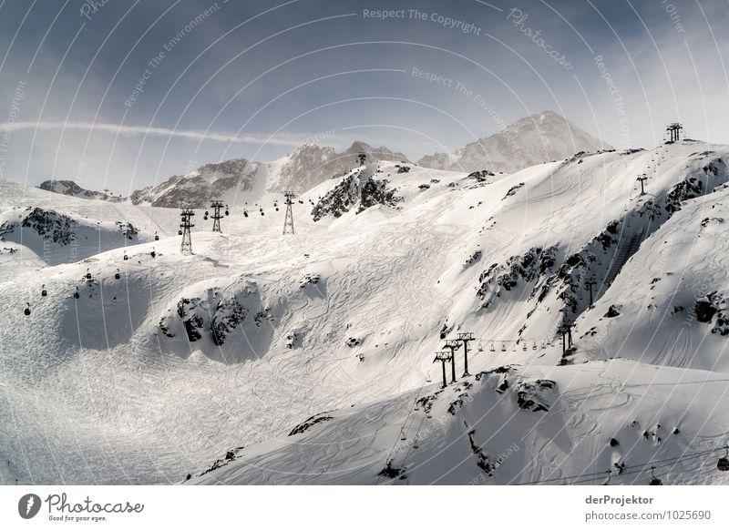 Wenn Berge sich liften lassen Natur Ferien & Urlaub & Reisen Landschaft Ferne Winter Berge u. Gebirge Umwelt Schnee Sport Freiheit Felsen Tourismus Eis Verkehr