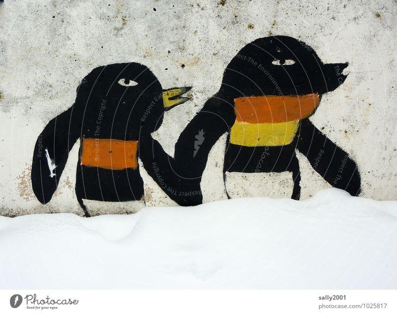 Spaziergang im Schnee... Tier Wand Schnee Mauer gehen Freundschaft Zusammensein Tierpaar Fröhlichkeit malen festhalten Zusammenhalt Gemälde rennen Kindergarten Kinderspiel