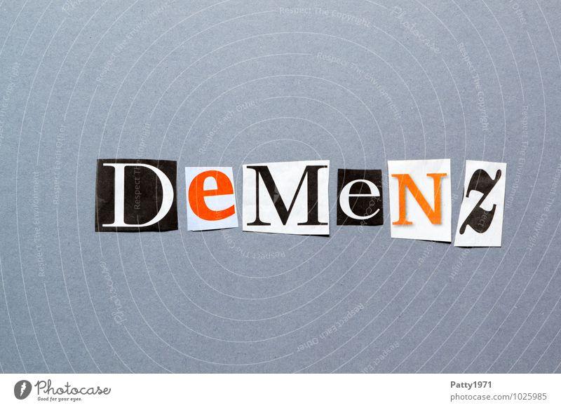 Demenz Krankheit Zeitung Zeitschrift Papier Zeichen Schriftzeichen Typographie verstört Irritation anonym ausgeschnitten Buchstaben Collage durcheinander