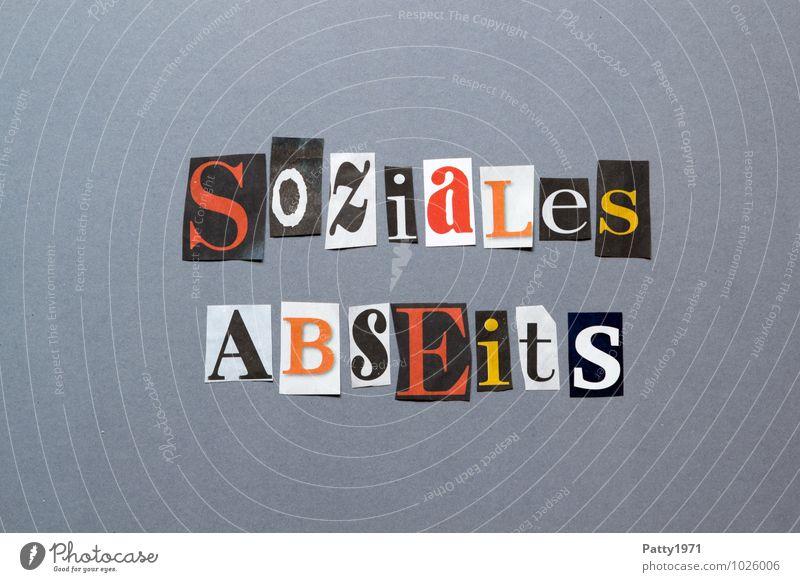 soziales Abseits Einsamkeit Schriftzeichen Armut Papier Buchstaben Symbole & Metaphern Zeitung Gesellschaft (Soziologie) Wort durcheinander Typ Politik & Staat