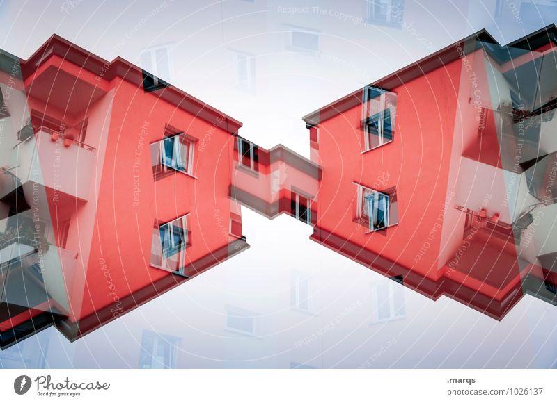 Rothaus Farbe rot Haus Fenster Architektur Stil Gebäude außergewöhnlich Fassade Wohnung Design Häusliches Leben elegant modern Perspektive verrückt