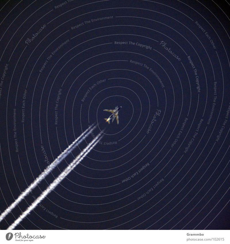 siebenuhrsiebenunddreißig Strahlung Flugzeug Düsenflugzeug Luftverkehr Himmel blau hoch Außenaufnahme
