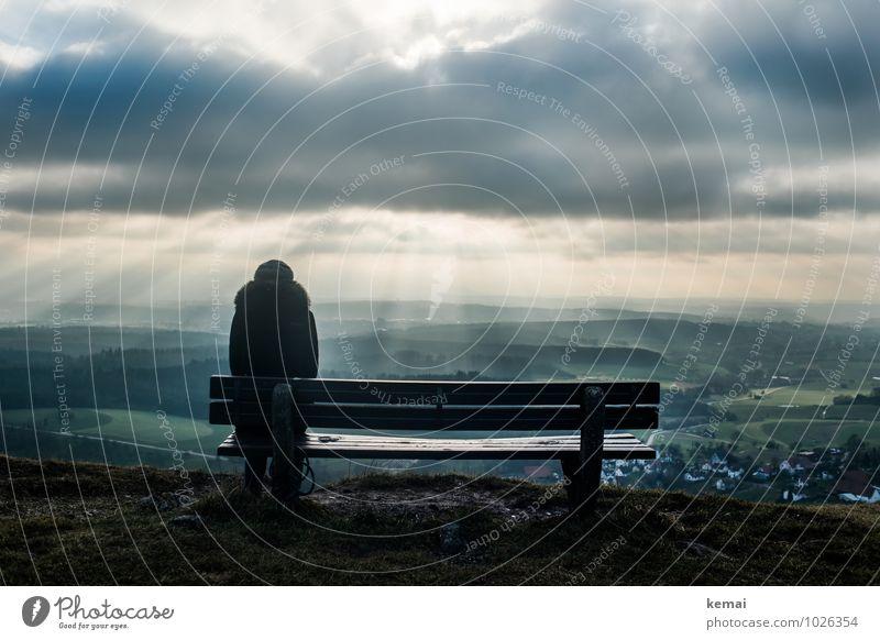 Love your Heimat // Hohenstaufenblick Mensch Himmel Natur Ferien & Urlaub & Reisen Erholung Landschaft ruhig Wolken Winter Ferne dunkel Umwelt Berge u. Gebirge