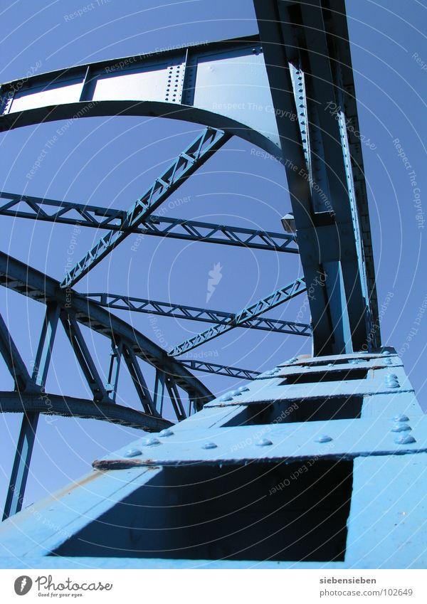 schwankungsfrei Stahl fahren Überqueren Brücke Industrie blau Himmel Bahnübergang alt Auschnitt Übergang Bridge Niete Stahlnieten Verkehrswege Metall