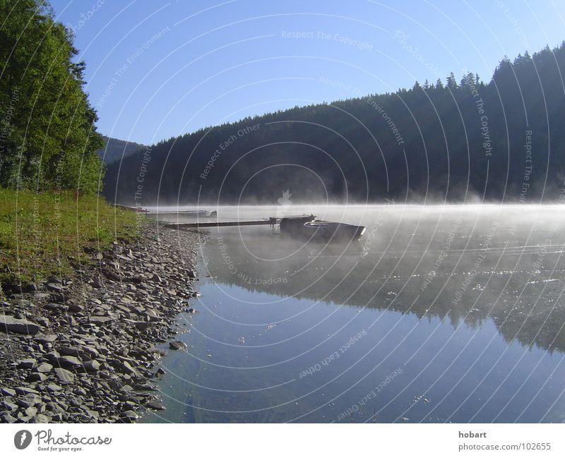 morgens am fluss Natur Wasser See Landschaft Wasserfahrzeug Nebel Fluss Bach