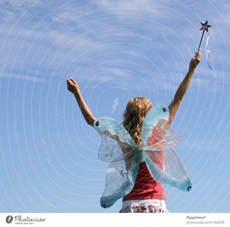 >good day< Himmel Mädchen Freude Sommer Freiheit Glück Arme Zufriedenheit fliegen frei hoch Fröhlichkeit Stern (Symbol) Luftverkehr offen Frieden