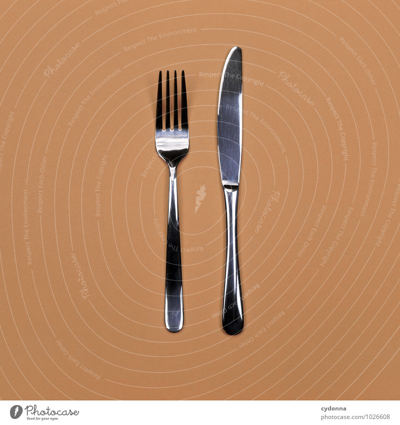Messer & Gabel Farbe Gesunde Ernährung Leben Gesundheit Lifestyle liegen Ordnung paarweise Beginn Kochen & Garen & Backen Sauberkeit Kultur Hilfsbereitschaft