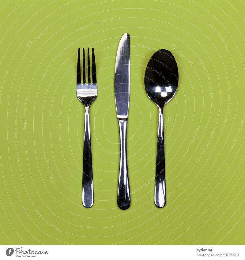 Zusammen essen Ernährung Mittagessen Festessen Besteck Messer Gabel Löffel Lifestyle Restaurant Essen Beratung Erwartung Farbe genießen Hilfsbereitschaft Idee