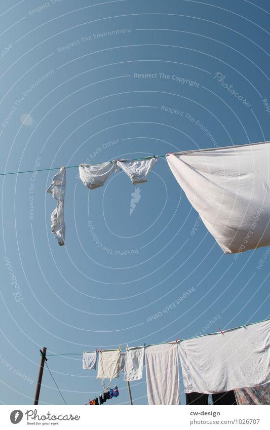 Kleine Wäsche Himmel Garten Wohnung Freizeit & Hobby Häusliches Leben Bekleidung Schönes Wetter T-Shirt rein Wolkenloser Himmel Hemd Strümpfe Wäsche Unterwäsche Wäscheleine Unterhose