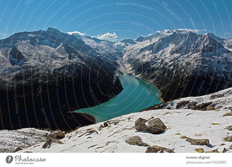 Zillertaler Alpen von der Olperer Hütte aus gesehen Winter Schnee Berge u. Gebirge Wolken Felsen Gletscher See Stein Wasser blau schwarz weiß Klima Berghang