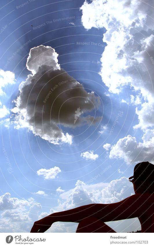 the sky is the limit Himmel Sonne blau Sommer Wolken Erholung träumen Wärme Zufriedenheit Beleuchtung Deutschland sitzen Aussicht Physik Musikfestival Baseballmütze