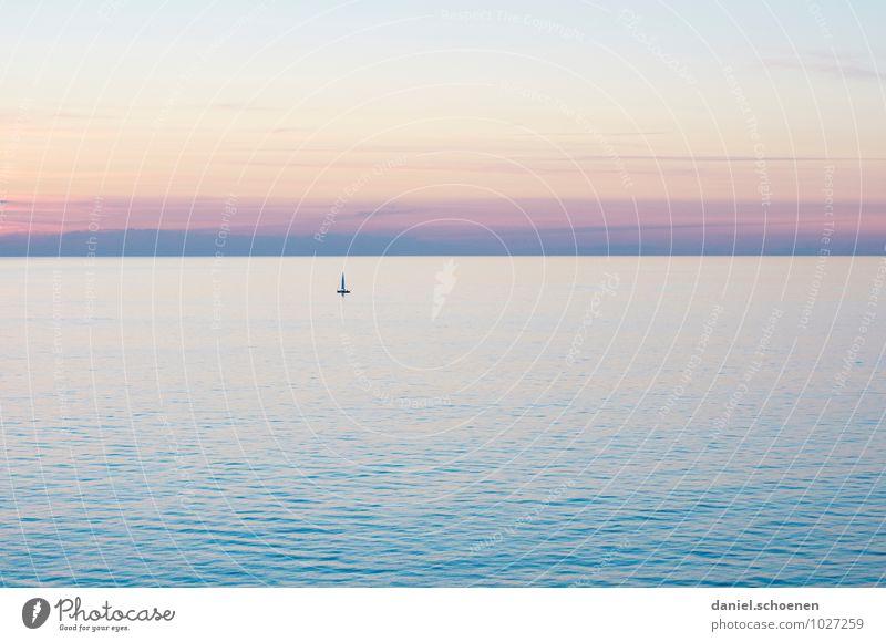 neulich auf meiner Yacht Wasser Himmel Wolkenloser Himmel Sonnenaufgang Sonnenuntergang Klima Schönes Wetter Meer blau rosa Horizont ruhig mehrfarbig