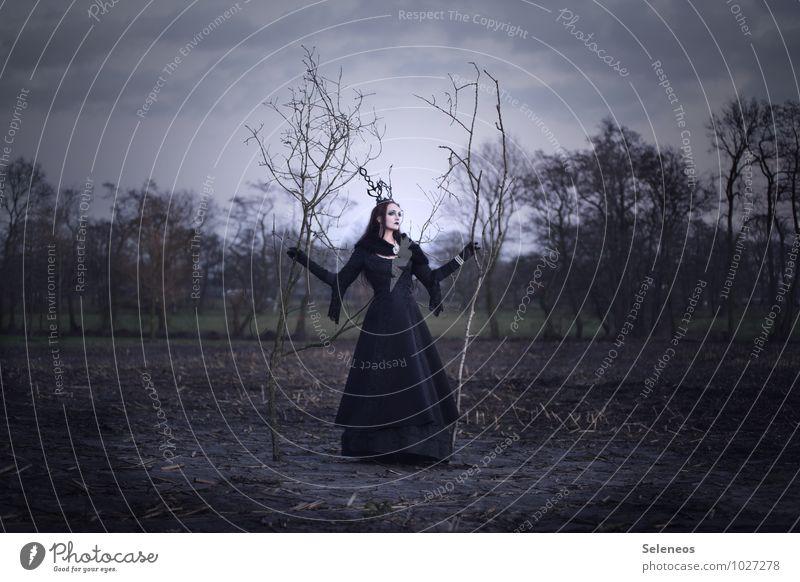 Winter Mensch feminin Frau Erwachsene 1 Subkultur Rockabilly Gothic Umwelt Natur Landschaft Himmel Wolken Horizont Herbst Baum Feld Kleid Fell Krone elegant