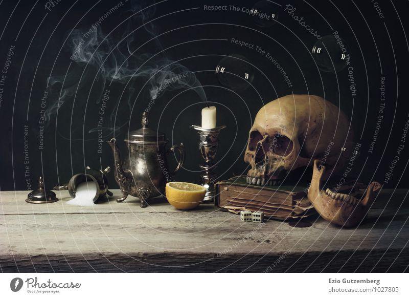 Vanitas with Skull and Tea Set, old Book and Soap Bubbles Mensch Leben Tod Holz Religion & Glaube Lebensmittel Kunst Kopf Dekoration & Verzierung genießen Buch