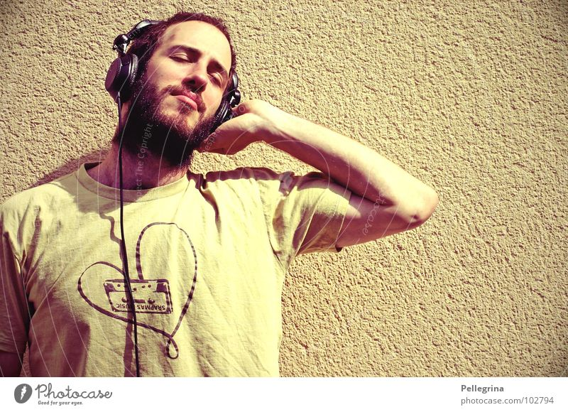HeadPhoneLove Mann Kopf träumen Musik Kabel T-Shirt Konzert hören Bart Kopfhörer Ton Klang stereo