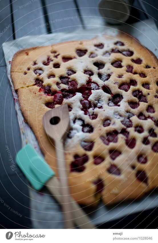 Blechkuchen Frucht Ernährung süß lecker Süßwaren Kuchen Dessert Himbeeren