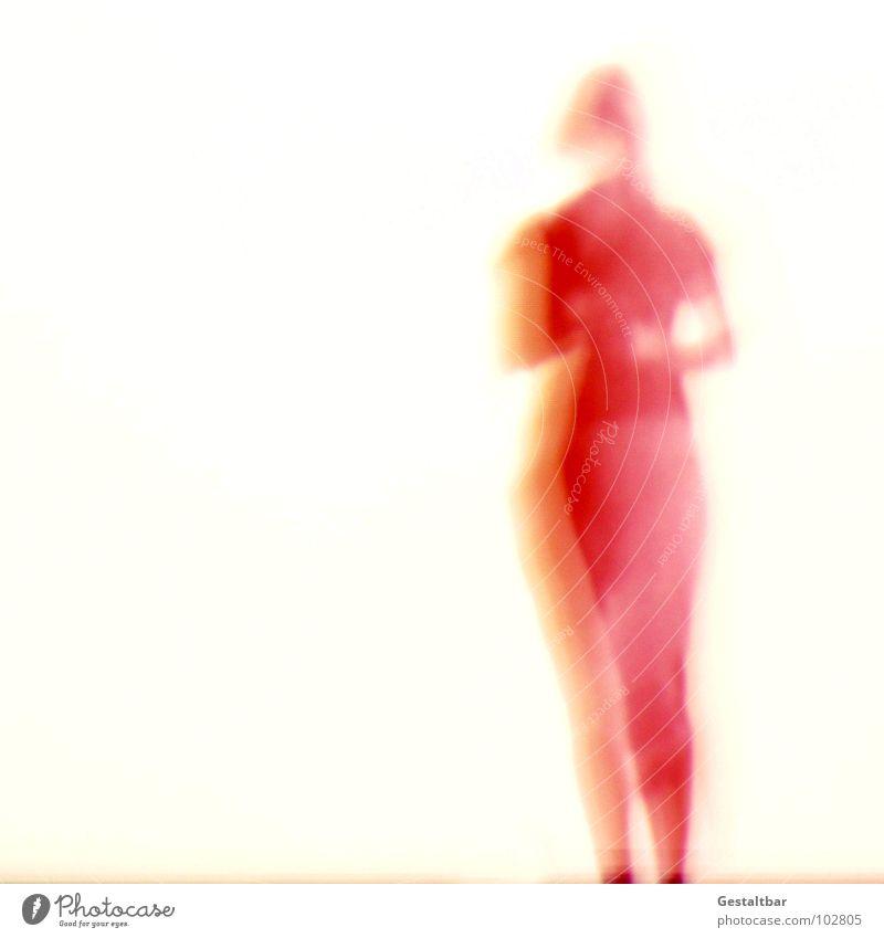 Schattenspiel 07 Frau feminin Silhouette frei geheimnisvoll stehen In sich gekehrt Denken Tasche Aussicht gestaltbar Ausstellung Projektionsleinwand Bewegung