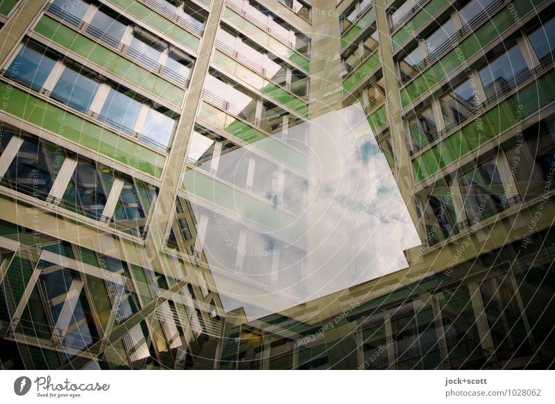 offen für Neues Funktionalismus Wolken Berlin-Mitte Bürogebäude Hinterhof Fassade Fenster Streifen Rechteck Geometrie eckig modern grün Akzeptanz beweglich