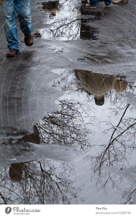 Tristesse liégeoise Mensch maskulin Beine Fuß 2 Wasser schlechtes Wetter Regen Stadt bevölkert Fußgänger Straße Asphalt Jeanshose Schuhe hängen trist blau grau