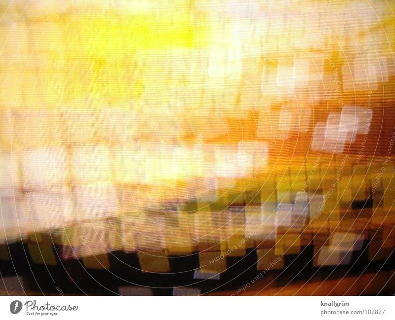 Square Dance Quadrat gelb braun Ocker dunkel weiß glänzend Licht Farbe orange Tanzen Bewegung hell Überlappen Überschneiden Farbabstufung