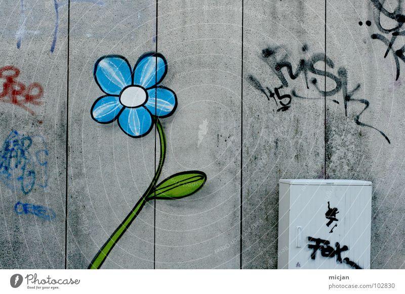 Mauer Flower Blume Gemälde gemalt gezeichnet Wand Spray mehrfarbig Kunst Straßenkunst Furche rot grün Stadt Schmiererei Kindergarten kindisch simpel schick