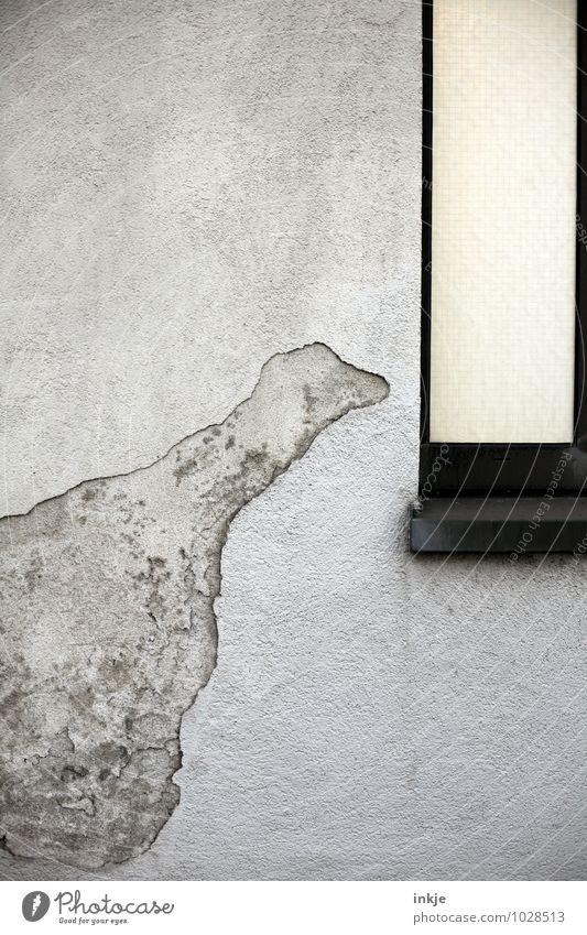 Tschüss, liebe Anne! Und immer neugierig bleiben! Menschenleer Mauer Wand Fassade Fenster Figur Beton Zeichen Linie Riss Umrisslinie Blick lustig Neugier