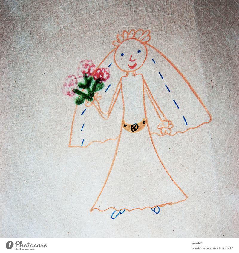 Kiss me Freizeit & Hobby Junge Frau Jugendliche 1 Mensch Kunst Kunstwerk Gemälde Kinderzeichnung einfach Freundlichkeit Fröhlichkeit Gesundheit Glück Gefühle