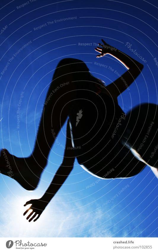 Jump Himmel Jugendliche blau Hand schwarz Fuß himmelblau