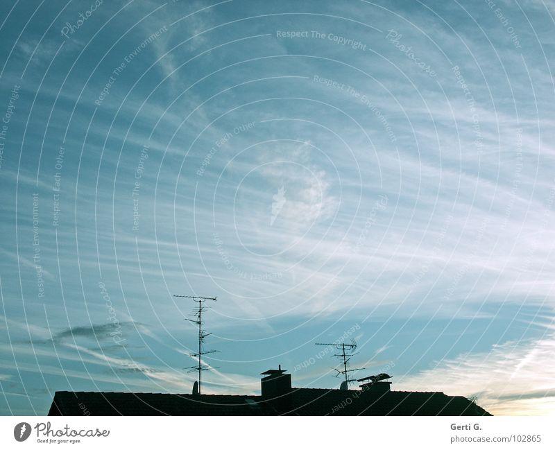 hallo Nachbar Sonnenuntergang himmelblau Antenne Draht Dach Dachfirst himmlisch Dachziegel Dachdecker Mehrfamilienhaus Kondensstreifen Licht Lichtstimmung Haus
